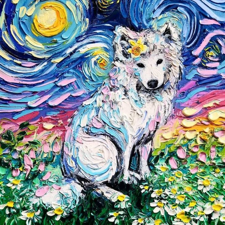 ציורי כלבים בסגנון ואן גוך: ציור של כלב בסגנון ואן גוך