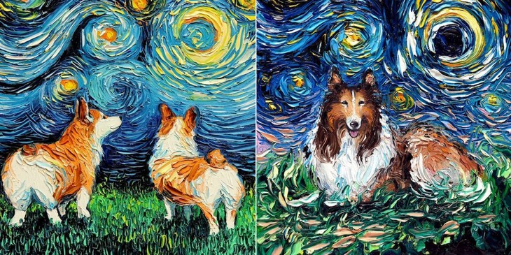 ציורי כלבים בסגנון ואן גוך: ציורי כלבים בסגנון ואן גוך