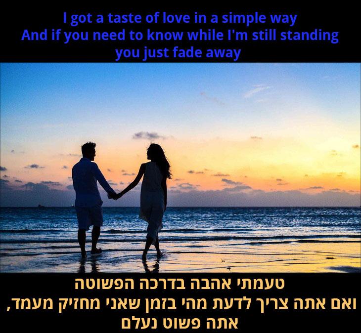 תרגום לשיר אני עדיין עומד: טעמתי אהבה בדרכה הפשוטה, ואם אתה צריך לדעת מהי בזמן שאני מחזיק מעמד, אתה פשוט נעלם