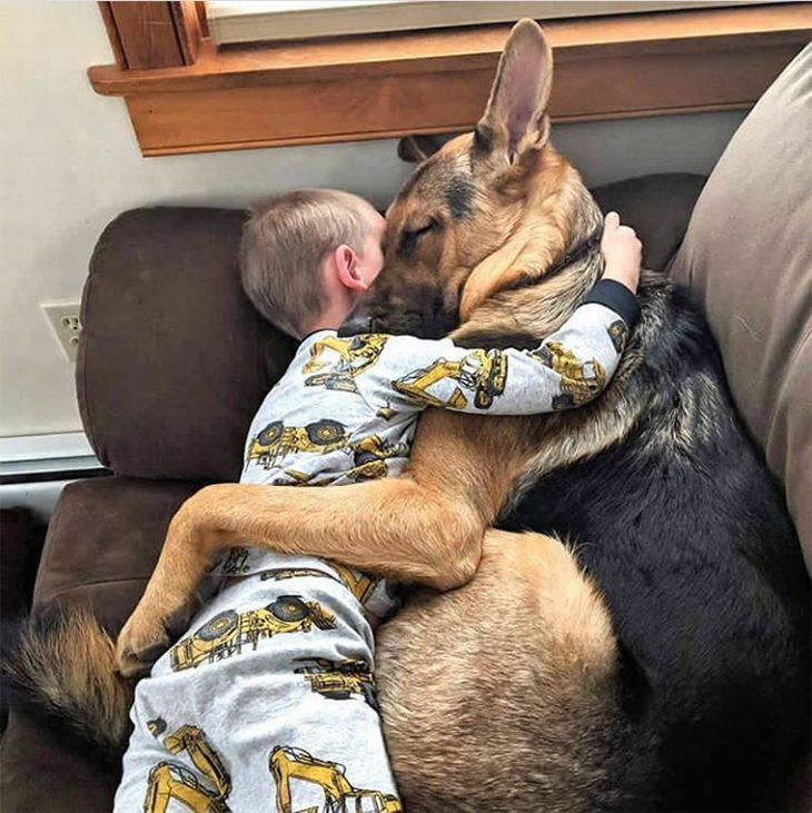 חיות חמודות שיגרמו לכם לשכוח מהצרות: ילד מתחבק עם כלב