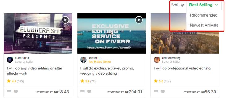 מדריך לשימוש ב-Fiverr: סידור עמוד המוכרים בקטגוריה מסוימת