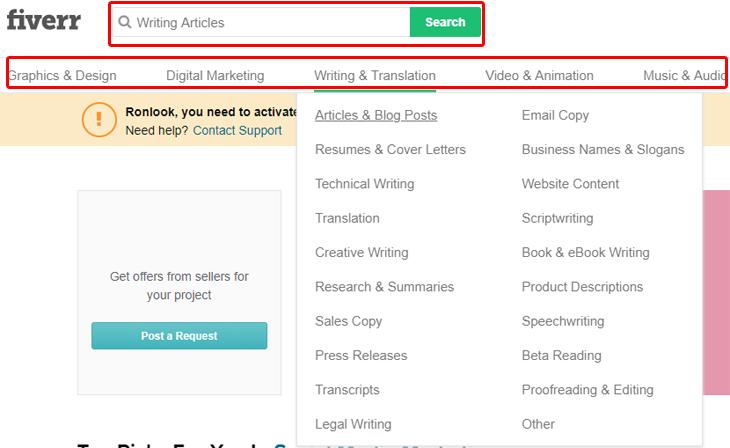 מדריך לשימוש ב-Fiverr: חיפוש שירותים בפייבר
