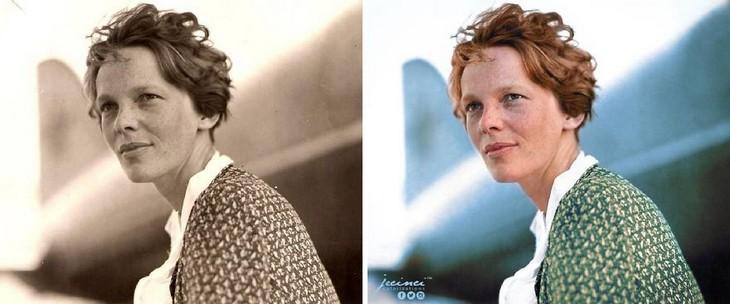 תמונות היסטוריות בצבע: אמיליה ארהארט - הטייסת הראשונה שחצתה את האוקיינוס האטלנטי בטיסת יחיד וקבעה שיאי טיסה רבים נוספים
