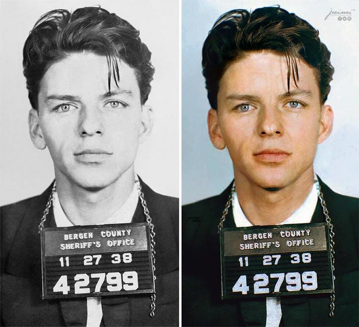תמונות היסטוריות בצבע: תמונת מעצר של פרנק סינטרה הצעיר - 1938
