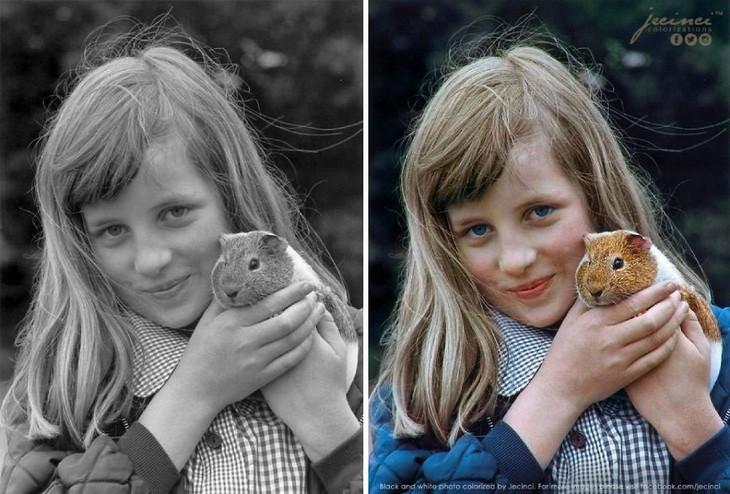 תמונות היסטוריות בצבע: הנסיכה דיאנה יחד עם חיית המחמד שלה, שרקן בשם בוטנים - 1972