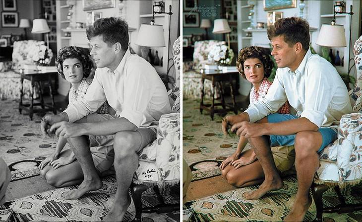 תמונות היסטוריות בצבע: ג'ון קנדי ואישתו לעתיד ג'קלין קנדי-אונאסיס נרגעים בבית משפחת קנדי זמן קצר לאחר האירוסין שלהם בשנת 1953
