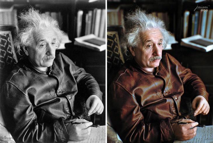 תמונות היסטוריות בצבע: אלברט איינשטיין עם מעיל העור המפורסם שלו - 1938