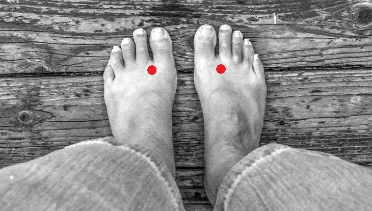 נקודות לחיצה לחולי סוכרת: נקודות לחץ Foot Toe Point