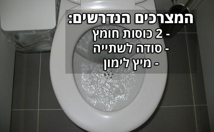 """ניקוי חלודה באמבטיה ושירותים: """"המצרכים הנדרשים: 2 כוסות חומץ, סודה לשתייה, מיץ לימון"""""""