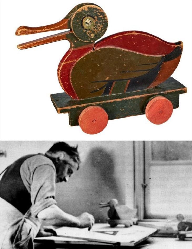 חברות בתחילת דרכן: ברווז מעץ, ותמונה של כריסטיאנסן בעבודה