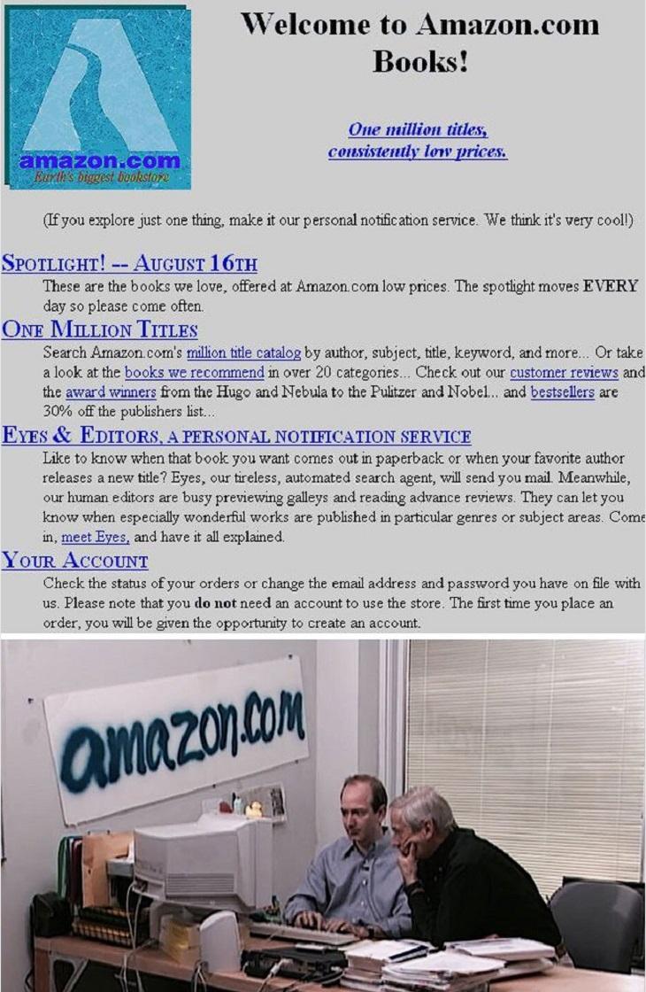 """חברות בתחילת דרכן: תמונה של אתר """"אמזון"""" בתחילת דרכו, ומשרד של החברה"""