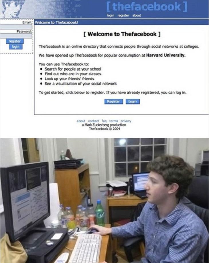 חברות בתחילת דרכן: עמוד הבית של פייסבוק בתחילת דרכו, ותמונה של מארק צוקרברג מתכנת