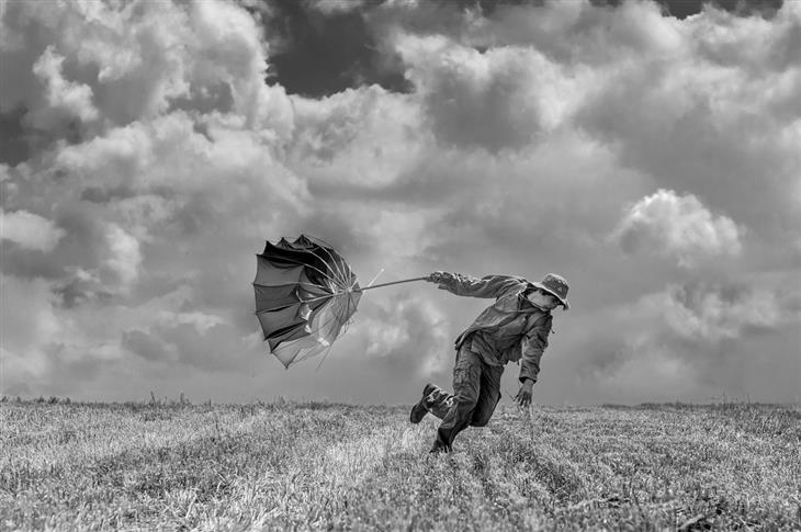 תמונות של אהד פרל: איש עם מטריה נלחם ברוח