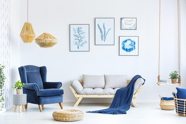 ריהוט מעוצב: סלון בצבעי תכלת וכחול