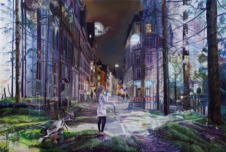 ציורים של האמן גייקוב ברוסטרופ: יער משתלב לתוך רחוב