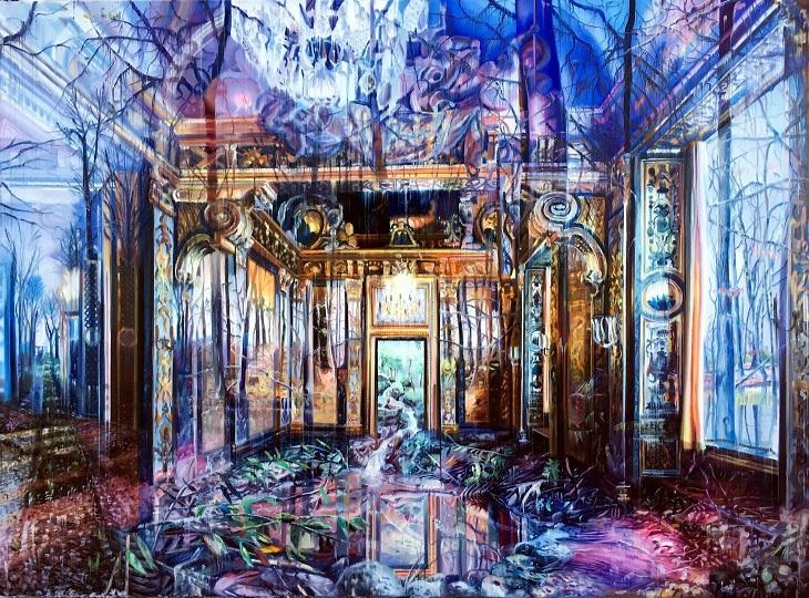 ציורים של האמן גייקוב ברוסטרופ: יער משתלב בתוך בית,