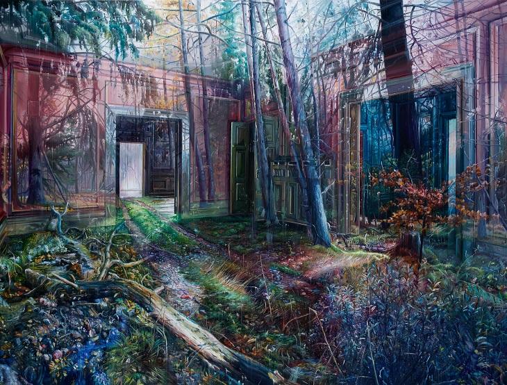 ציורים של האמן גייקוב ברוסטרופ: יער משתלב לתוך בית