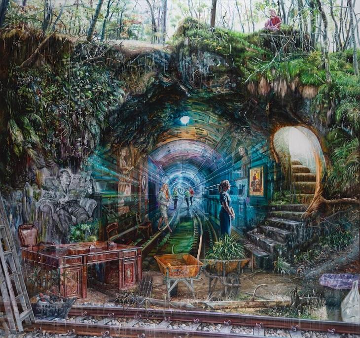 ציורים של האמן גייקוב ברוסטרופ: יער בתוך תחנת רכבת