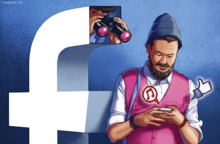 איורים ביקורתיים על העידן המודרני: איור של אדם גולש בפייסבוק דרך הסמארטפון בזמן שמישהו עם משקפת מתצפת עליו