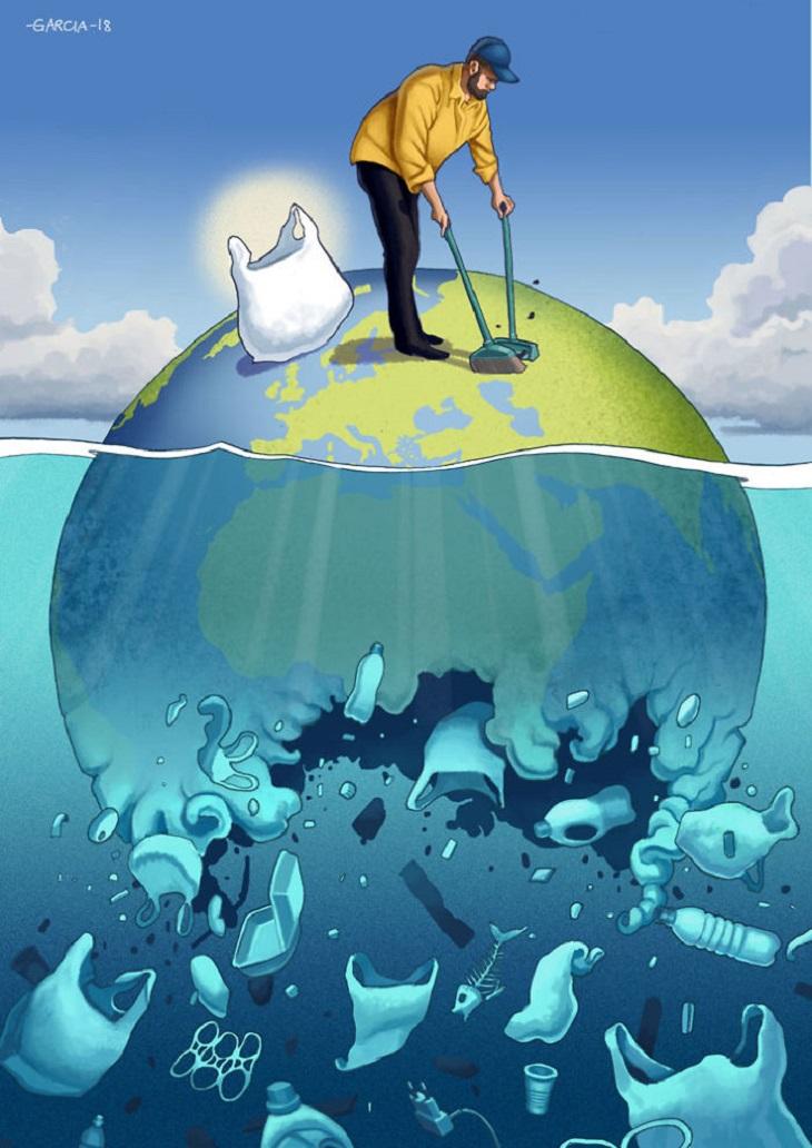 איורים ביקורתיים על העידן המודרני: איור של אדם מטאטא את כדור הארץ בזמן שהאשפה מוטלת לים