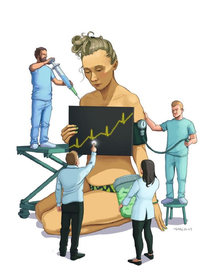 איורים ביקורתיים על העידן המודרני: איור של אישה שרופאים עובדים על כל חלקי גופה