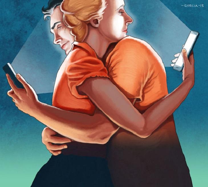 איורים ביקורתיים על העידן המודרני: איור של זוג מתחבק בזמן שכל אחד מסתכל על מסך הסמארטפון שלו