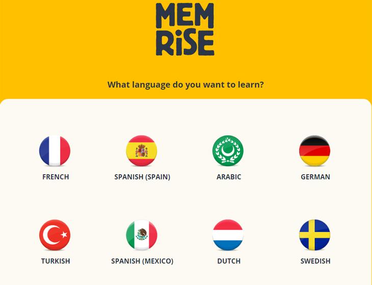 שירות לימוד שפות Memrise:  מסך בחירת שפה שתתחילו בה קורס