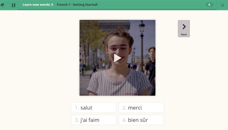 שירות לימוד שפות Memrise: שלב ראשון בקורס צרפתית - הצגת מילה בסרטון וידאו