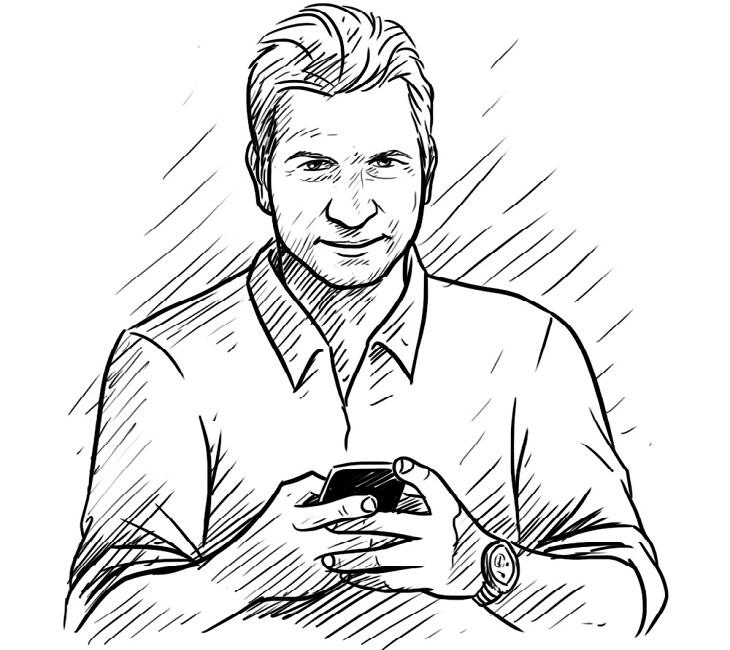 סרטון תמדית איכותי: איור של אדם עם סמארטפון