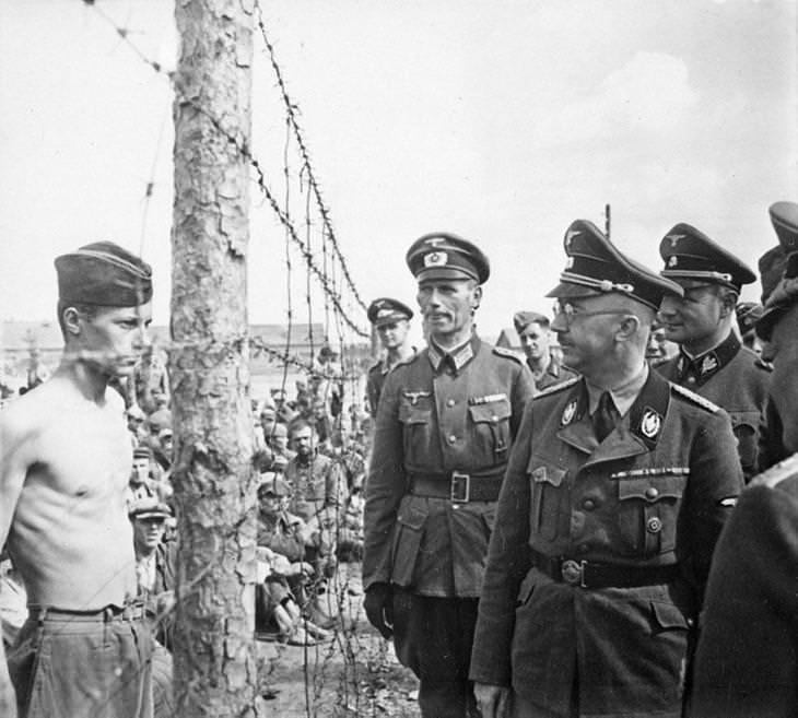 תמונות היסטוריות מדהימות: שבוי מלחמה רוסי נועץ מבט מתגרה בהיינריך הימלר, ראש הגסטפו והאס אס - אוגוסט 1941
