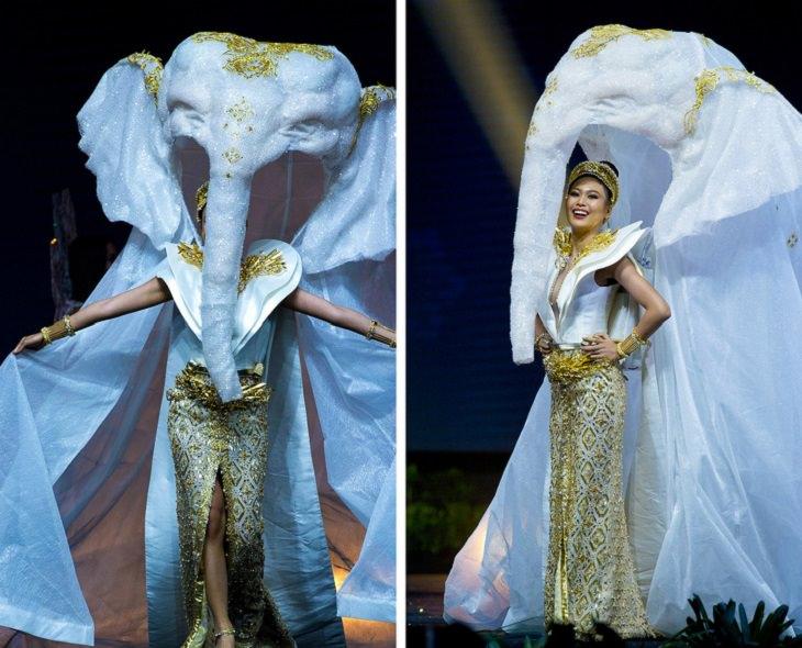 תלבושות מיוחדות ממיס תבל 2019: נציגת תאילנד עם שמלה לבנה וחלק עליון שנראה כמו ראש של פיל