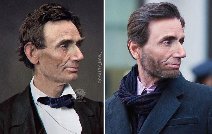 אישים מפורסמים מההיסטוריה במראה עכשווי: דיוקן של אברהם לינקולן כפי שהיה נראה בעבר ואיך היה נראה כיום