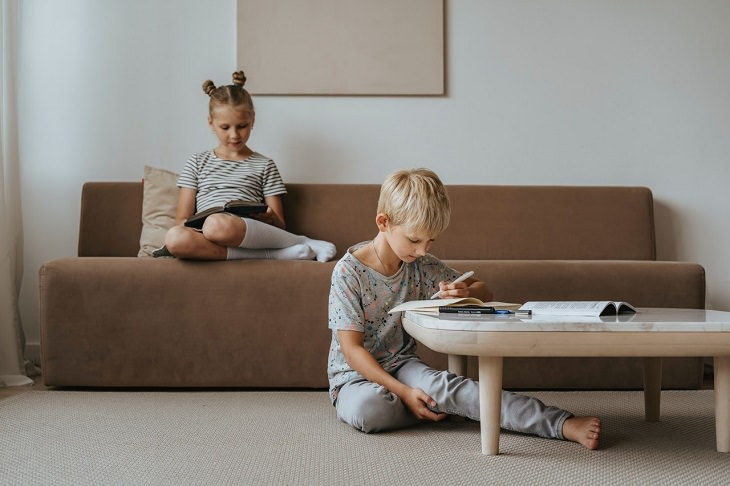 השפעות הקורונה על תלמידים: ילדה קוראת ספר וילד כותב בחוברת