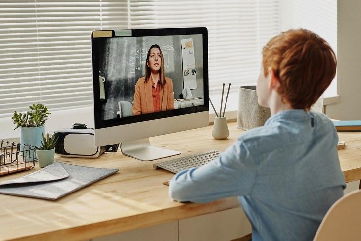 השפעות הקורונה על תלמידים: ילד יושב ולומד דרך שיחת וידאו