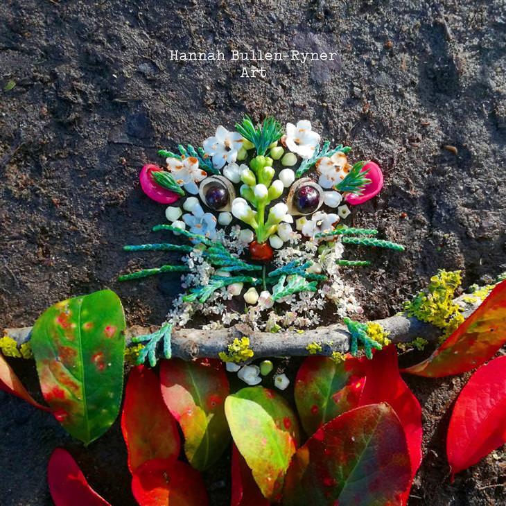 יצירות טבעיות של האנה בולן ריינר: יצירה של סוריקיטה מעלים ופרחים