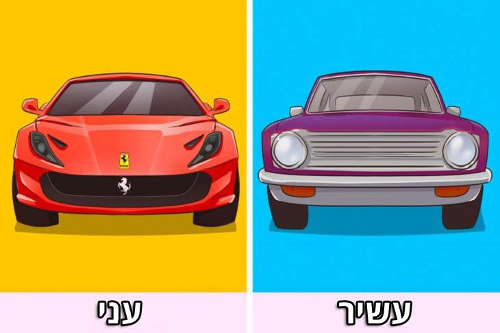 דברים שמונעים מאיתנו להתעשר: מכונית ישנה של אדם עשיר, ומכונית חדשה ויקרה של אדם עני