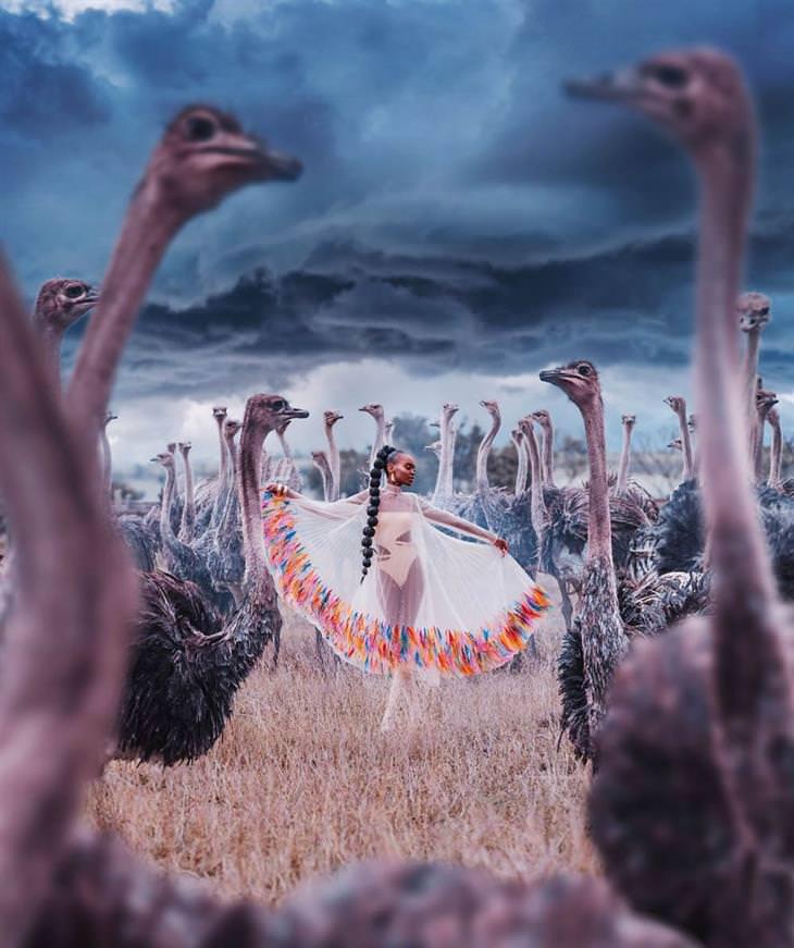 רקדניות ברחבי העולם: רקדנית בין יענים