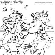 דפי צביעה בנושא יהדות: רוקדים עם ספר תורה