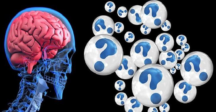 השפעות הזקנה על המוח והזיכרון: מוח מול בועות מלאות בסימני שאלה