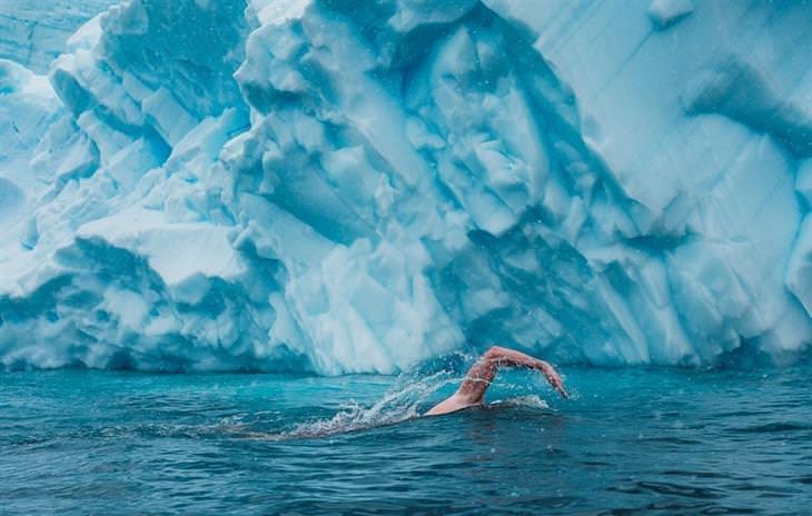 תמונות מתחרות צילום האוקיינוס 2020: אדם שוחה בין קרחונים