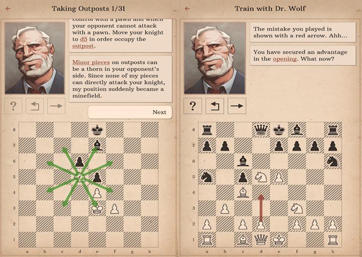 אפליקציות שחמט: אפליקציית Learn Chess with Doctor Wolf