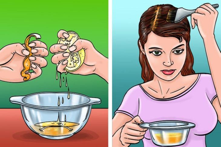 שיטות טבעיות לטיפול בקשקשת: איור של אישה מורחת על ראשה תערובת קליפת תפוז ומיץ לימון