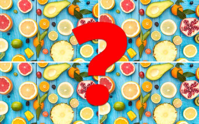 מצא את ההבדלים: תמונות של פירות וסימן שאלה