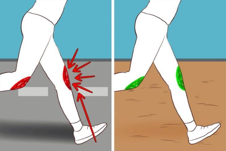 תרגילי כושר להימנע מהם בעת כאבי ברכיים: ריצה על משטח רך אל מול ריצה על משטח אספלט