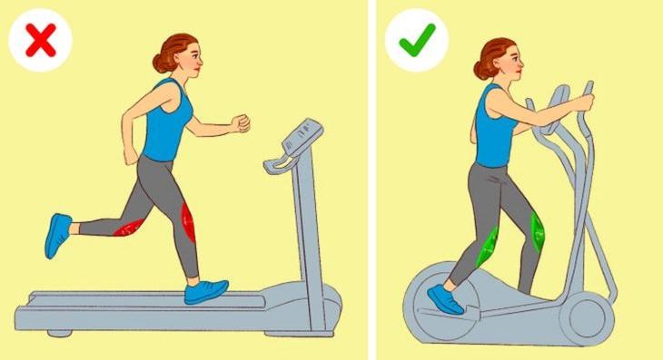 תרגילי כושר להימנע מהם בעת כאבי ברכיים: ריצה על הליכון אל מול תרגול על מכשיר אליפטי