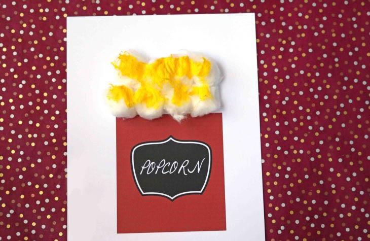 פעילויות יצירה מצמר גפן לילדים: פופקורן מצמר גפן, בקופסה מצוירת
