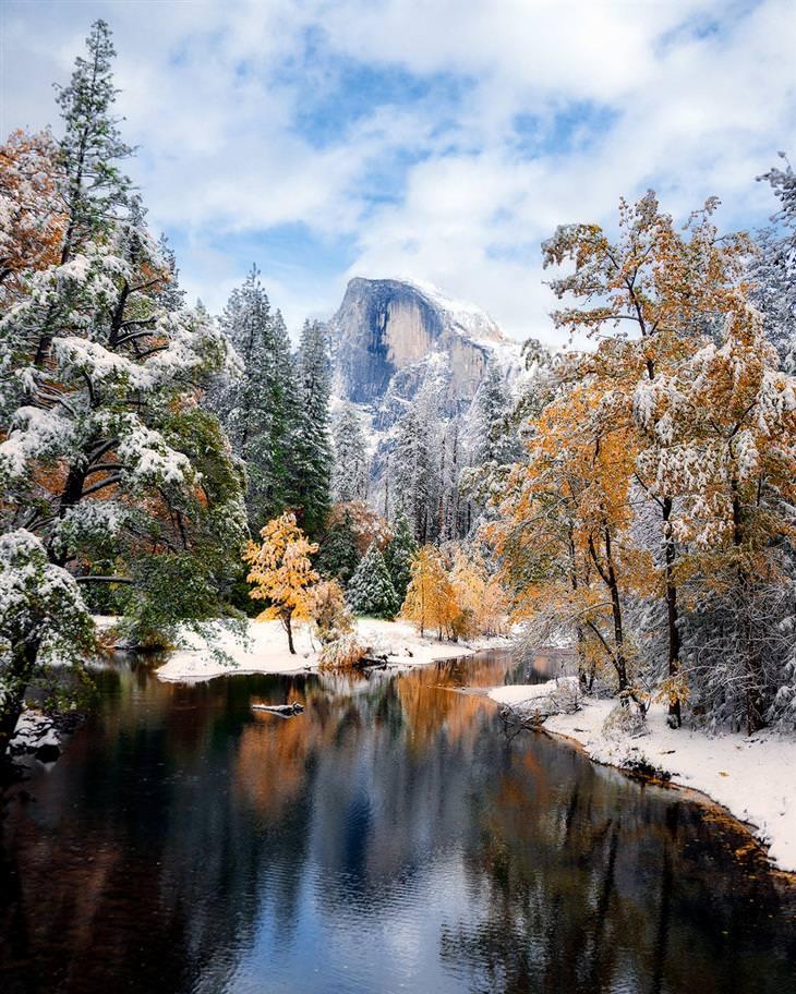 נופי טבע מדהימים: שלג וצבעי הסתיו בפארק הלאומי יוסמיטי