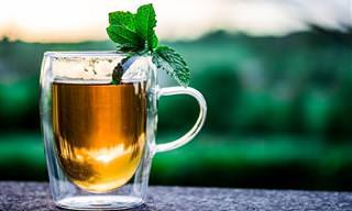 כתבות בנושא משקאות תה: כוס תה עם עלה בתוכה על רקע טבע