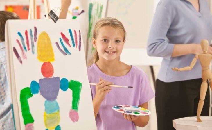 החשיבות של אומנות בהתפתחות הילדים: ילדה לצד ציור שציירה