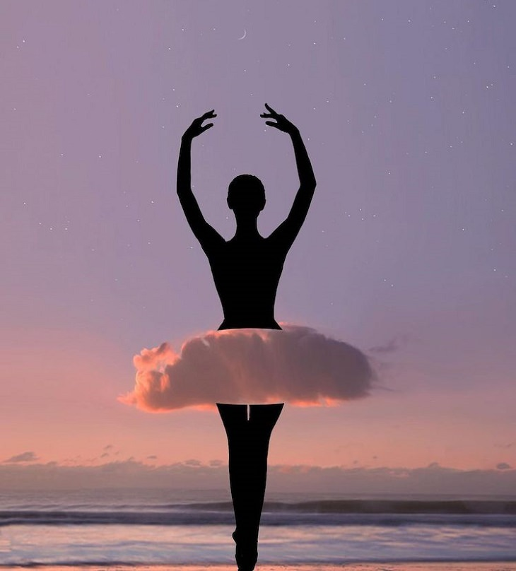 תמונות אמנותיות המשלבות עננים וגרמי שמיים: בלרינה עם חצאית טוטו מעננים